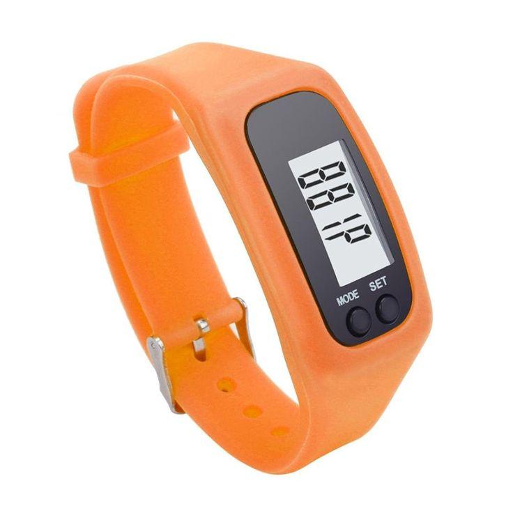 LEERYA Digital LCD Pedometer Run Step Walking Distance Calorie Counter Watch Bracelet Orange -- For more information, visit image link.