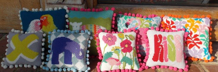 Pile of little pillows taking the spring sun at www.madinengland.com !