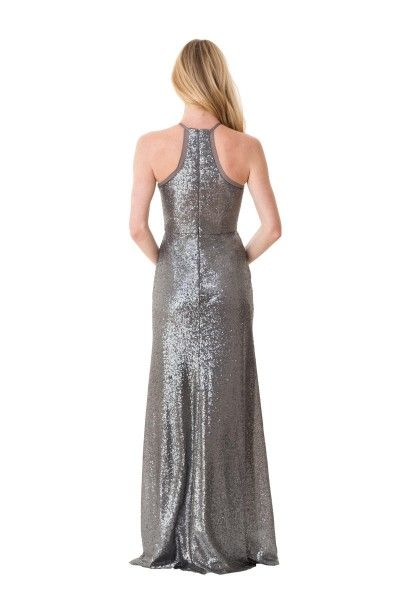 Bari Jay 1662 Long Sequin Slim Bridesmaid Dress- BACK VIEW