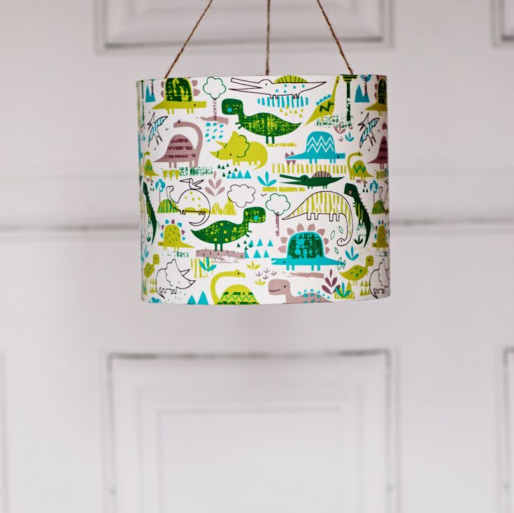 Unique Handmade Green Dinosaur Lampshade, Perfect For Any Little Boys  Bedroom.
