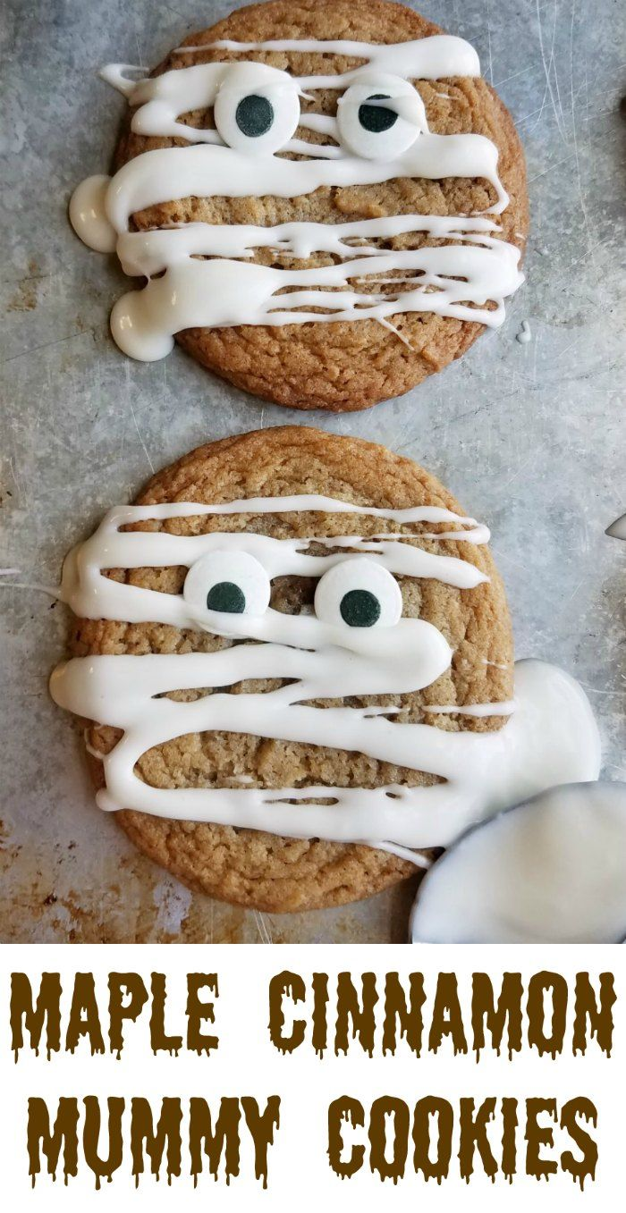 These chewy and delicious maple cinnamon cookies become mummies quickly and easily. They are a perfect Halloween treat! #OXOgoodcookies #cookies4kids #halloween AD