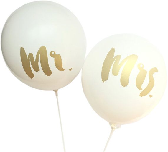 How pretty are these balloons! These white and gold balloons will surely make your wedding or engagement shoot exceptional!  The latex balloon is 12 inches and stamped with metallic gold ink. This listing comes in packs of 2 - one (1) Mr. and one (1) Mrs.  NOTE: The balloon will arrive deflated for you to inflate on the day of your event with hand pump or helium at your local party store. Please keep balloons away from children as they can be a choking hazard.  Image #1 by Hay Alexandra…
