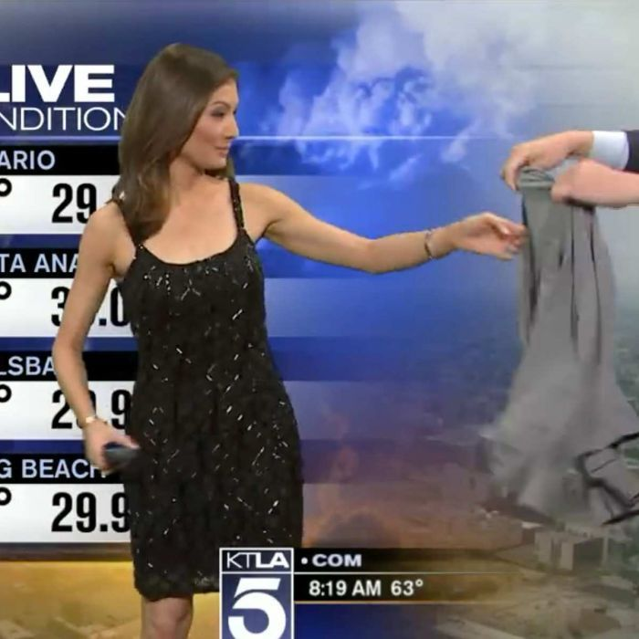 A US weather presenter for KTLA is told to cover up while live on air after…