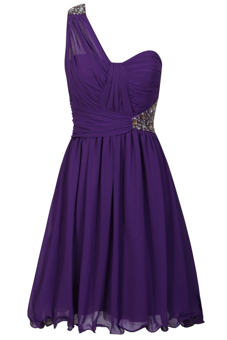 Perfect bridesmaid dress! Little Mistress Purple One Sleeved Cut Out Dress with Chiffon Detail