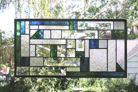 Mission Style Blue & Green Geometric 29.75 x by StainedGlassArtist