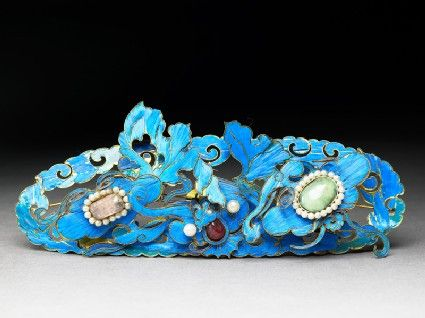 Hair ornament; gilt filigree, semi-precious stones, seed pearls, and kingfisher feathers. China 19th century.
