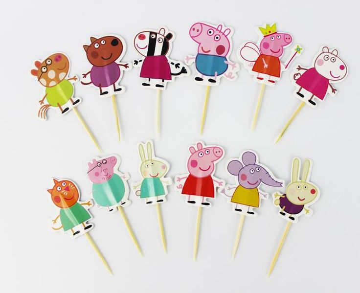 [Visit to Buy] 24pcs  papa pig toppers picks cupcake topper baby shower supplies child kids birthday party cake baking party decoration #Advertisement