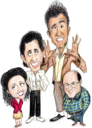 Seinfeld Cast - Caricature (Elaine, Jerry, Kramer & George)