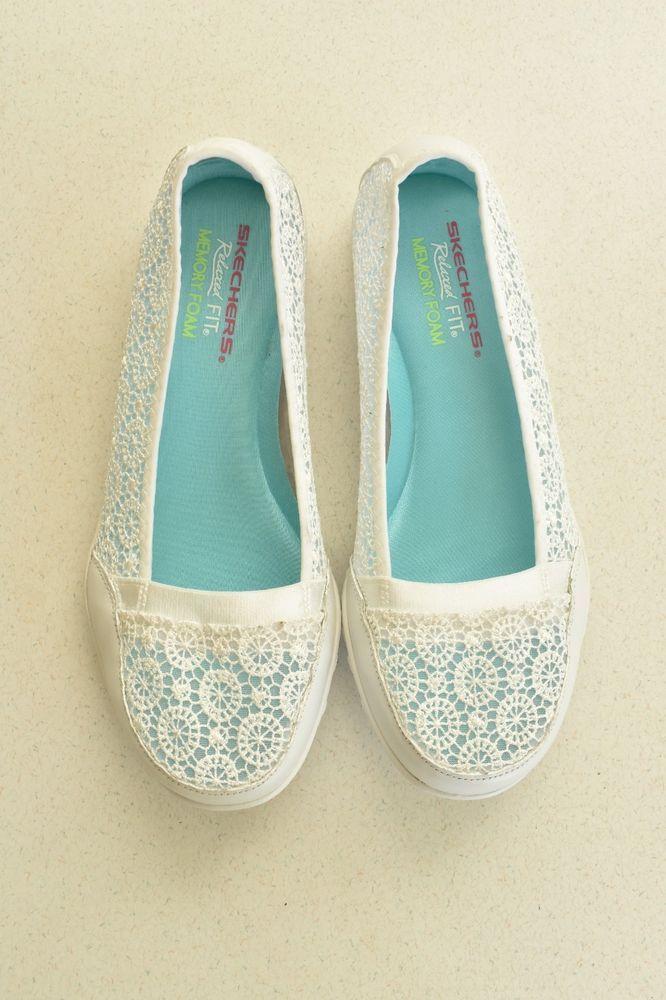 Skechers Women S Relaxed Fit Memory Foam White Ballet Flat
