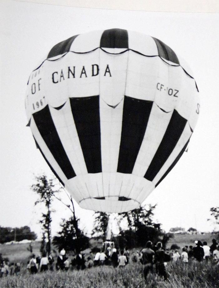 The Spirit of Canada, launched from a field near the corner of Smyth and St. Laurent.). The balloon flew off in 1967 as a part of Centennial celebrations.