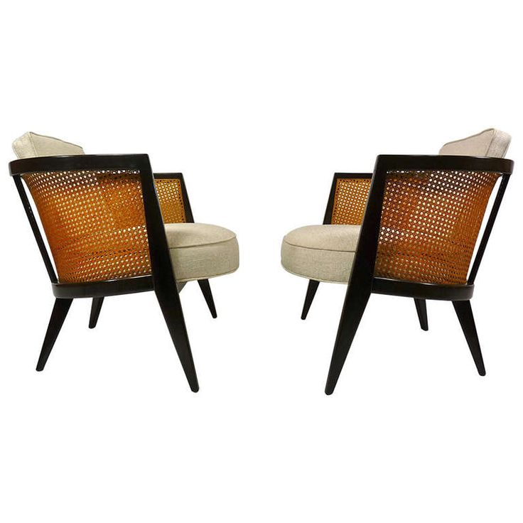 Pair Harvey Probber Cane Back Lounge Chairs Antiques