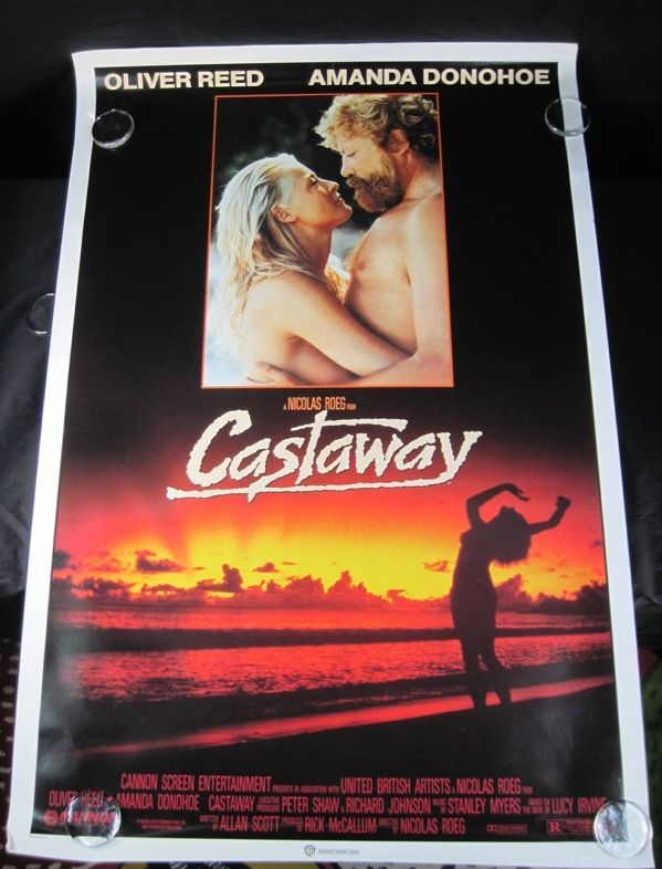 """#1986 #CASTAWAY COLOR #MOVIE PROMO #POSTER OLIVER REED AMANDA DONOHOE 27"""" X 41"""" RARE $19.99 FREE SHIPPING"""
