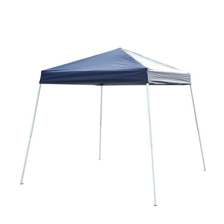 Outsunny Slant Leg Easy Pop-Up Canopy Party Tent, 8 x 8-Feet, Blue. The Outsunny slant leg shelter is the perfect pop up tent for the beach, backyard or even flea market stall. With a rust resistant slant leg frame and UV blocking, light weight, cover this is the sun shade tent you have been looking for. Telescoping legs let you easily adjust height, while the pop up frame makes set up and tear down a snap. One piece pop up style frame, with open cathedral-style ceiling; high-quality…