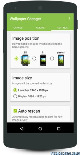 Wallpaper Changer v4.5.8 [Premium]Requirements: 2.3 and upOverview: This app allows you to quickly change your wallpaper with one single click on a widget!Additionally, you can enable a timer to automatically change your wallpaper on a predefined...