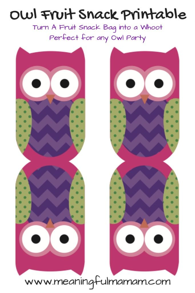 Owl Fruit Snack Printable food for owl party - Meaningful Mama