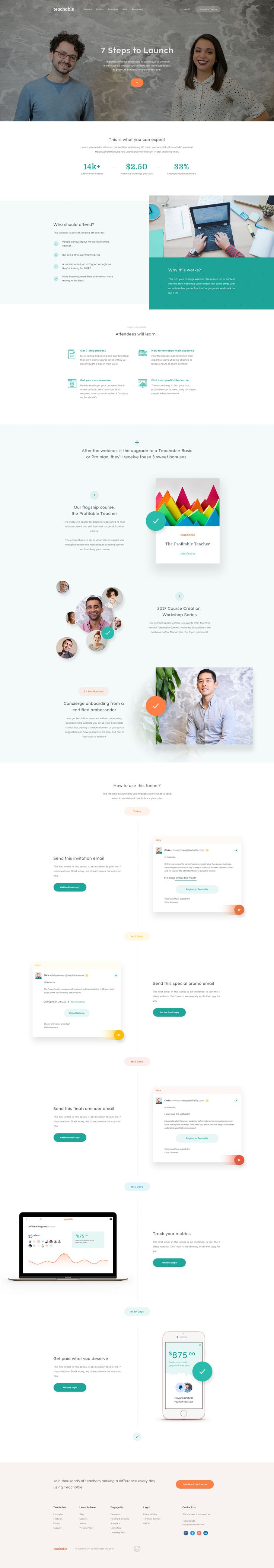 Teachable Landing Page - Web Design Inspiration - Green, Orange