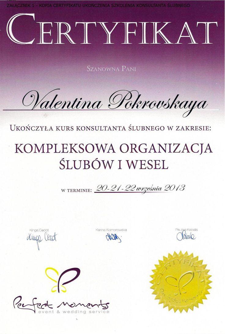 Diploma of completing wedding planner training  | Certyfikat ukończenia szkolenia z kompleksowej organizacji ślubów i wesel