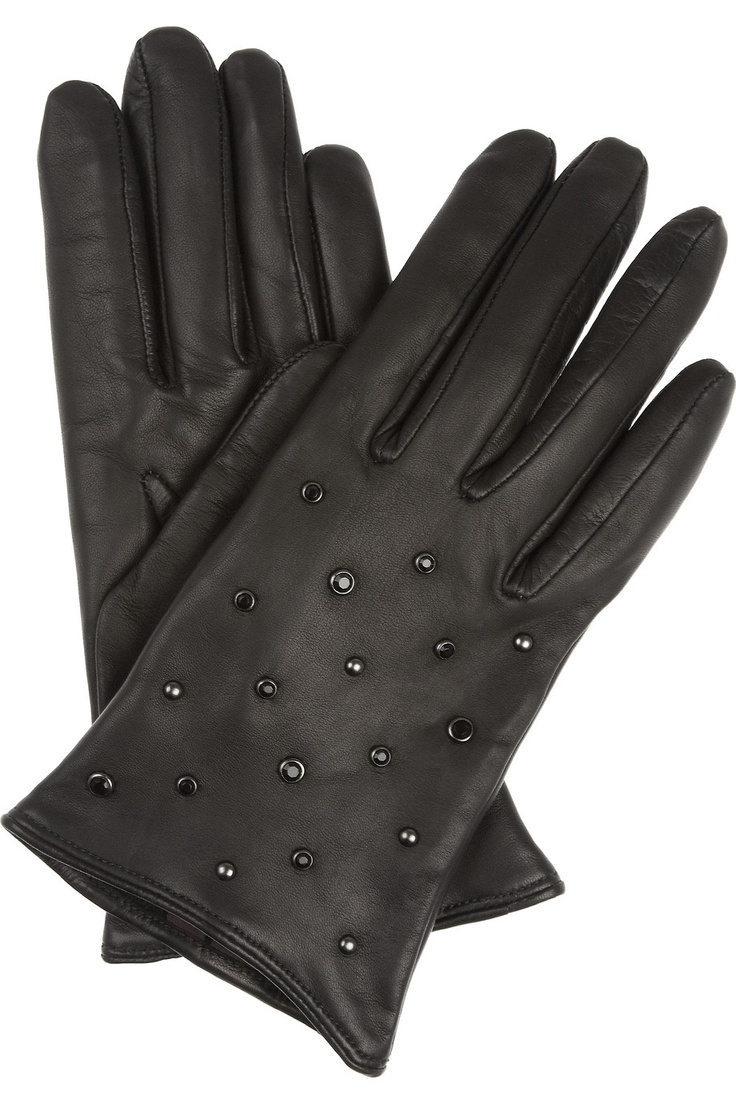 Black leather gloves cape town - Mulberry Gems Studded Leather Gloves