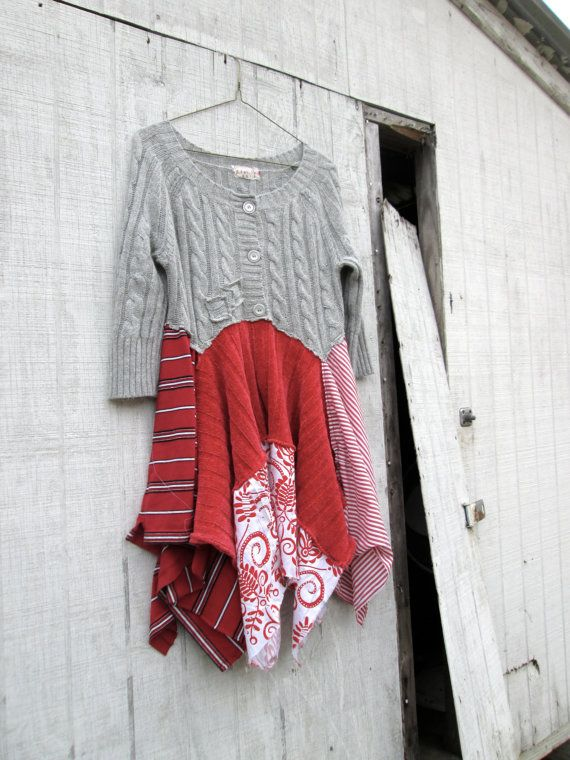 boho lagenlook romantic dress / Upcycled clothing / by CreoleSha