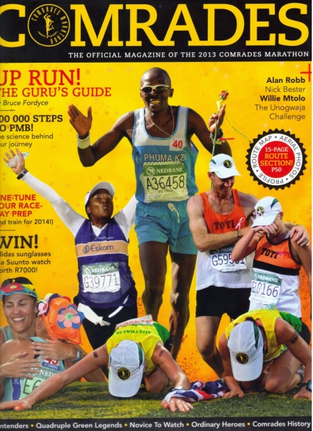 Petros Sosibo features on the cover of Comrades Marathon Souvenir Magazine 2013