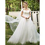 Princesa Vestido de Boda Hasta el Suelo Cuchara Encaje con Lazo / Flor / Volante 2017 - $1546.21