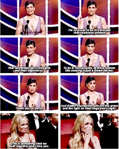 Idina Menzel and Kirsten Chenoweth Idina Menzel accepting the Tony Award for best actress in a musical (Wicked). Beautiful.