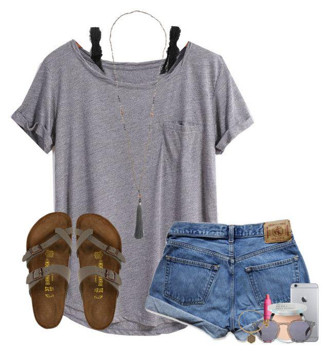 #summer #outfits / Grey Tee + Denim Shorts