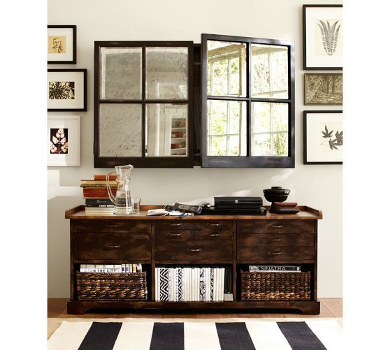 Mirror Cabinet Media Solution | Pottery Barn..nice idea, need more of these in the market.