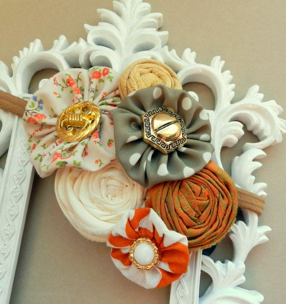 Baby Headband Orange Headband Newborn Flower by poppyandmum, $18.00