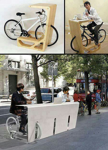 Mobiliario urbano - ¡Que idea tan genial! Hacer ejercicio mientras se está trabajando.... Me encanta! ♥♥♥ What an awesome idea! Working out while you're working.... Love it!