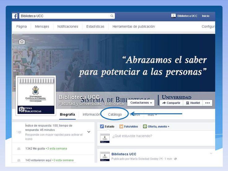 El catálogo de la biblio en la Fan Page. Ya podes consultar el catálogo online de la Biblio desde Facebook mira donde: #Biblioteca #FanPage #CatálogoOnline