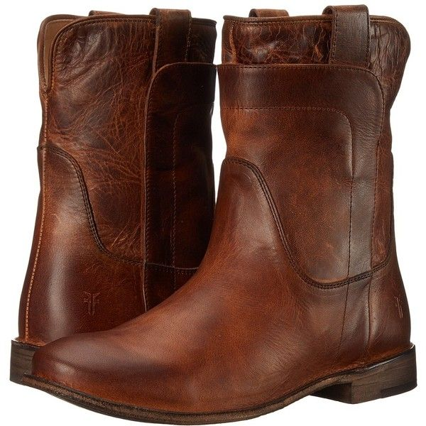 Frye Paige Short Riding (Cognac Antique Pull Up) Women's Pull-on Boots ($200) ❤ liked on Polyvore featuring shoes, boots, ankle booties, ankle boots, cognac booties, low heel ankle boots, equestrian boots and frye bootie