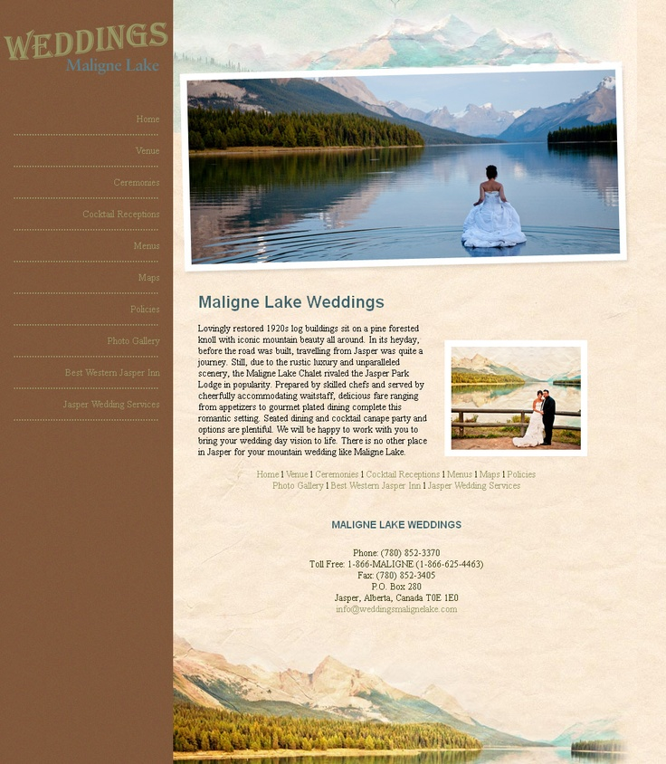Maligne Lake Weddings - http://www.malignelakeweddings.com Check out the awesome webpage designed by www.worldwebtechnologies.com #webdesign, #worldwebtechnologies, #design