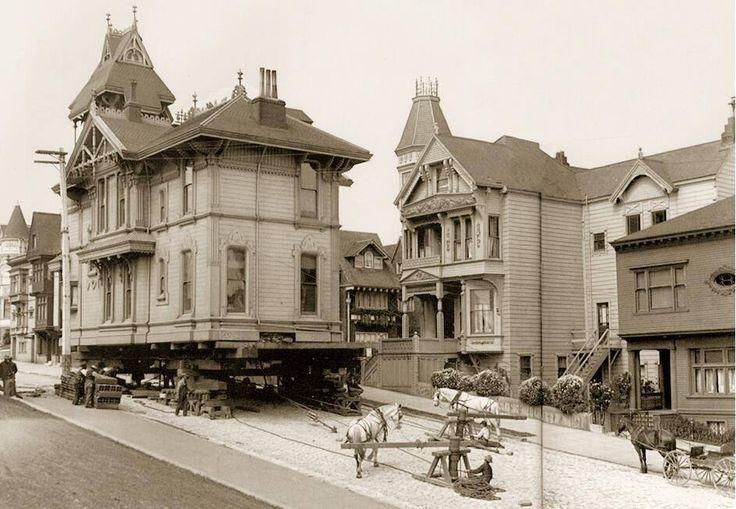 Moving a house using draught horses. San Francisco, 1908.