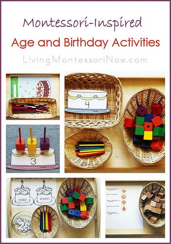 Link to Montessori Celebration of Life post along with ideas for using Spielgaben materials and free printables to create Montessori-inspired activities focusing on ages and birthdays