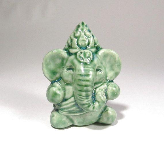 Ganesh Statue Miniature Folk Art Ceramic Figurine by Jillatay