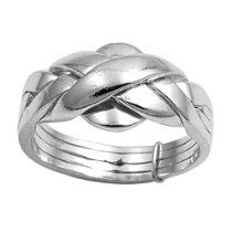 Rhodium Plated Sterling Silver Wedding & Engagement Ring 4 Bands Puzzle Ring 11MM ( Size 6 to 11) Size 9