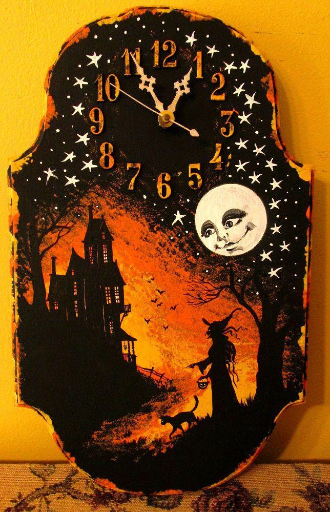 original hp halloween clock vintage ooak style folk art ryta black cat painting