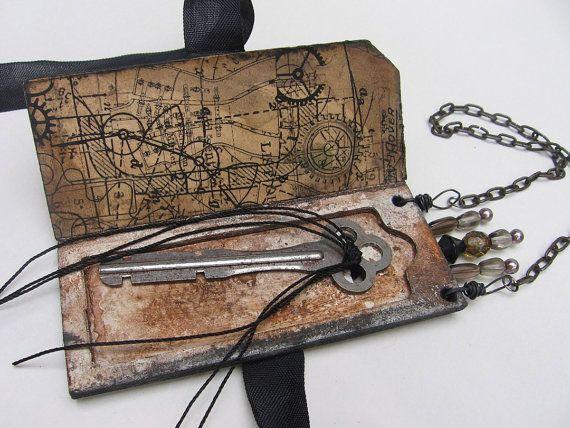 Artfully packaged shrine supplies microscope slide mailer vintage key for mixed media altered art