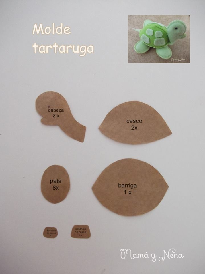 Tartaruga em Feltro - Molde  http://www.mamaynena.com.br/apostilas-de-feltro-ct-111ca6