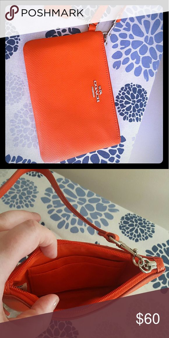 Coach wristlet Small, reddish orange clutch Coach Bags Clutches & Wristlets