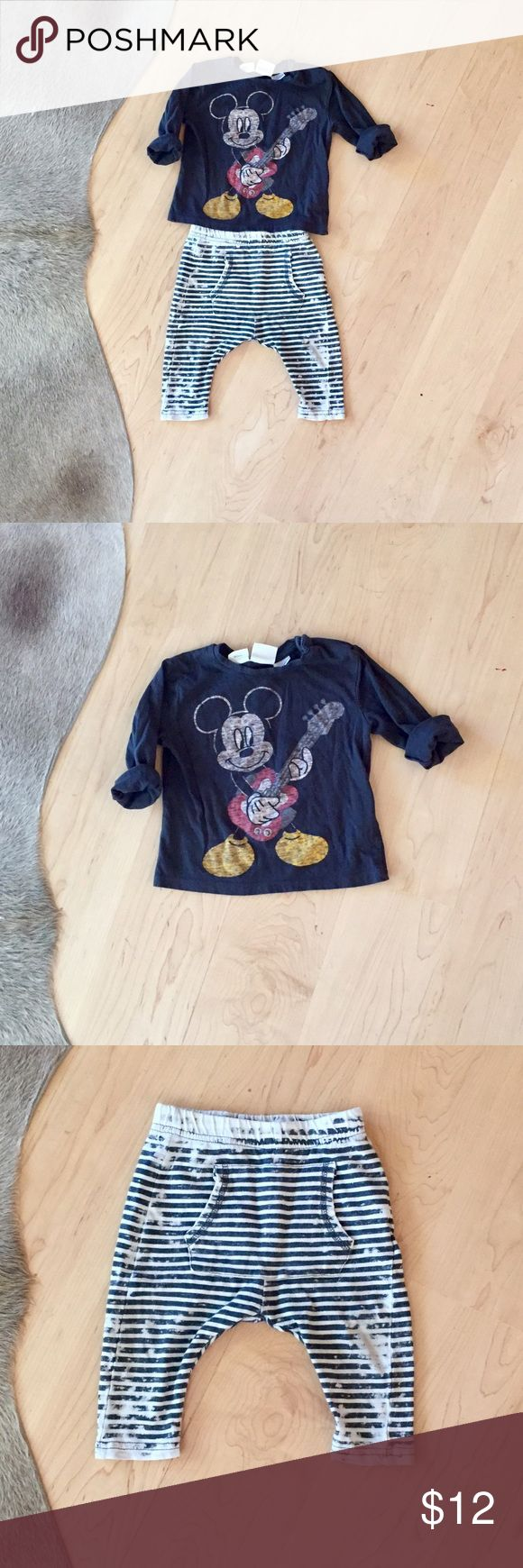 """Zara Baby """"Mickey Rock Star"""" Outfit Zara Baby """"Mickey Rock Star"""" Outfit. Love this little outfit! Loved but lots of life left. Very slight discoloration on the knees of pants. Zara Matching Sets"""