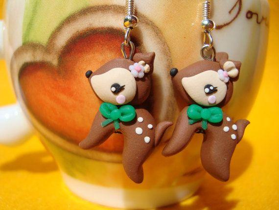 Sweet  Kawaii Fawn Earrings in the Forest by IlMondodiPetra