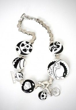 "Mervi Kurvinen ~""Freewheel"" necklace in silver, steel, hand painted porcelain by Tarja Häsä. 