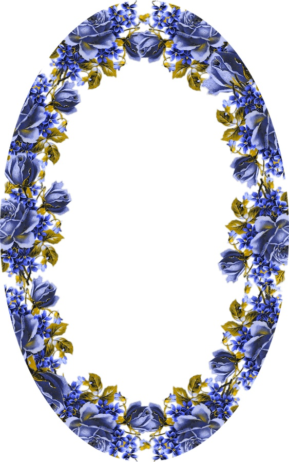 Frame - large blue floral oval