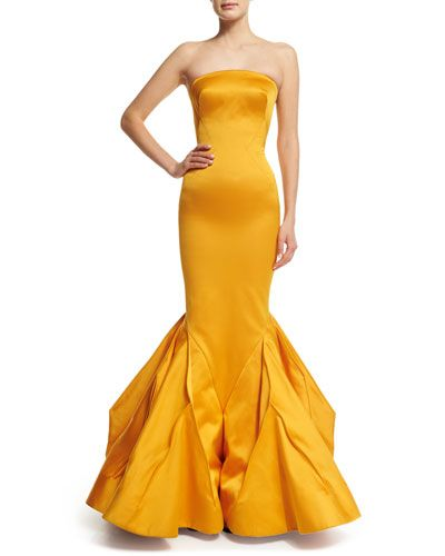 W0ASE Zac Posen Strapless Fitted Gown W/Trumpet Skirt, Marigold
