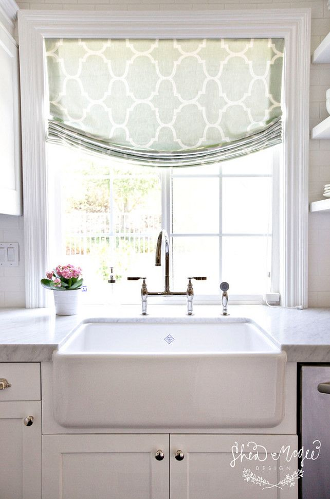 i not only love the window treatment yes even though its more clean amp modern than i usually choose but i love the crown moulding around the window: sink windows window love