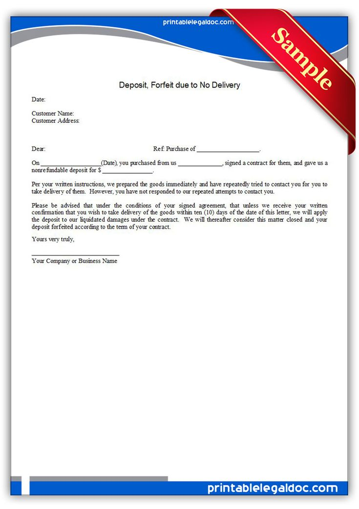 Free Printable Deposit Forfeit Due To No Delivery Form