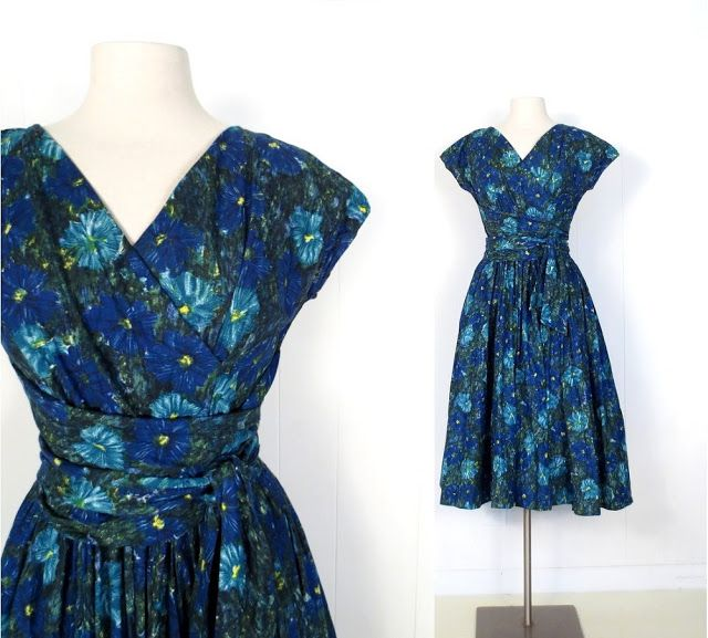 1950s Blue Aster cotton dress with wrap bodice and sash waist, by Jerry Gilden