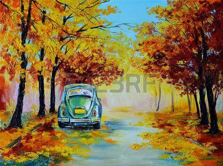 Olejomalba krajina - auto na barevné podzimní lesní cestě, vyrobený ve stylu impresionismus, retro photo